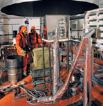The SATURNE calorimeter hood is used to study the behavior of fires in an open environment.