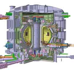 Exploded view of the future ITER tokamak. The fuel is confined in a ring shaped vacuum chamber. @ Iter Organization
